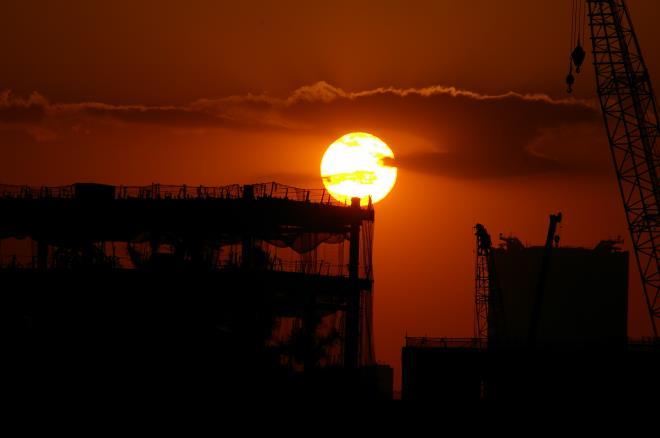 有明北橋からの夕日①