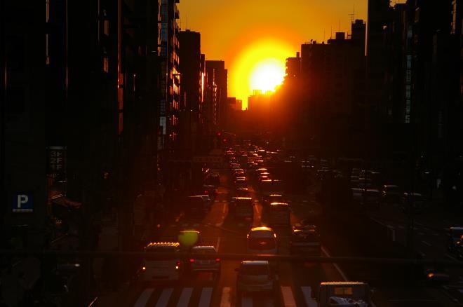 歩道橋からの夕陽⑤