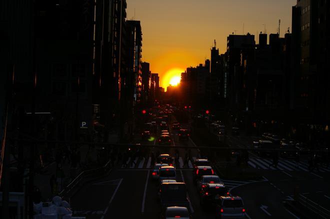 歩道橋からの夕陽⑦