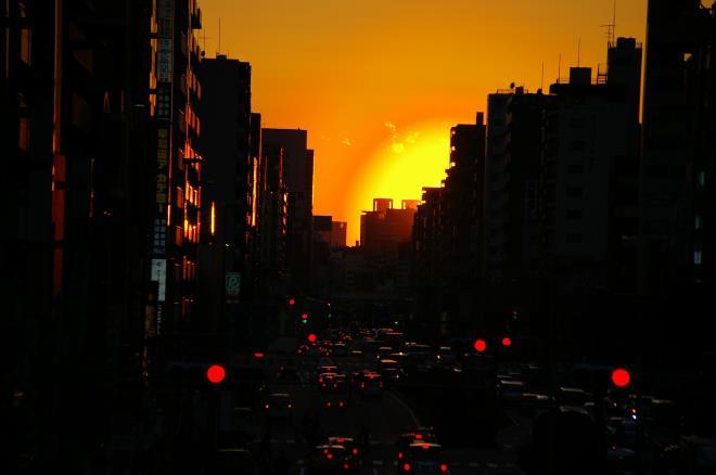 歩道橋からの夕陽⑨