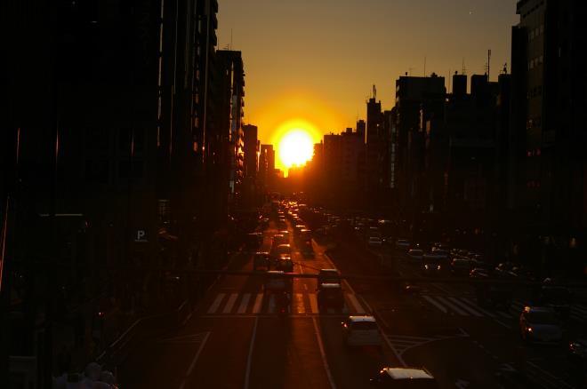 歩道橋からの夕陽①