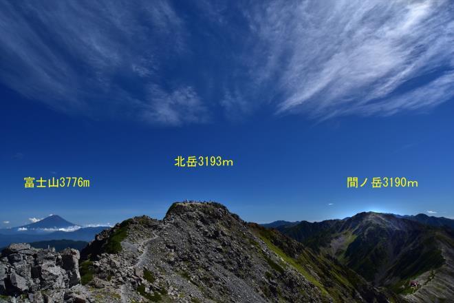 日本の標高第1位、第2位、第3位を見渡す。
