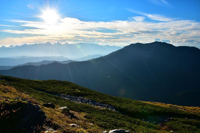 仙丈ケ岳の夕陽