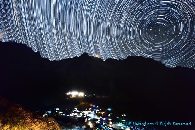北穂高岳と星の軌跡