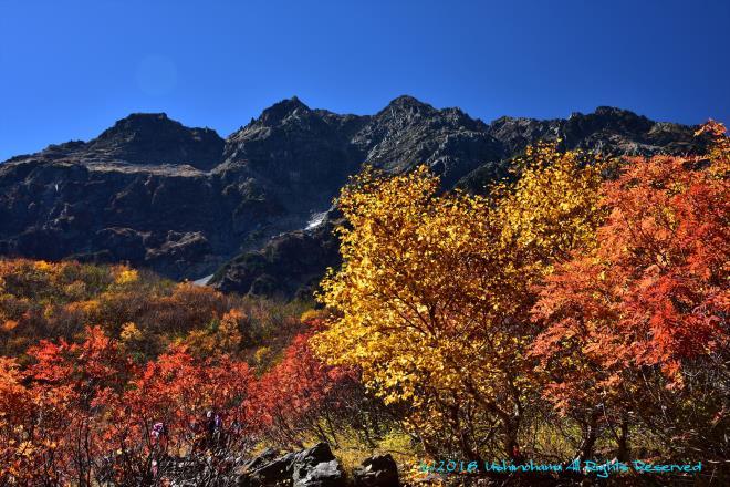 紅葉に映える奥穂高岳